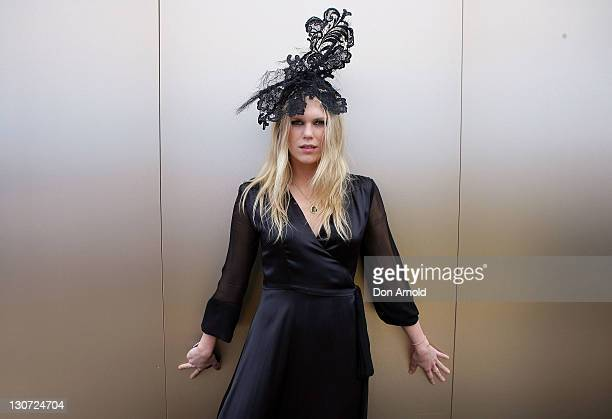 Alexandra Richards poses during Derby Day at Flemington Racecourse on October 29 2011 in Melbourne Australia