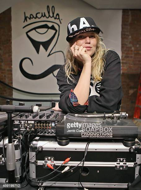 Alexandra Richards spins at the Haculla Winter 2014 collection launch and live installation by Harif Guzman at Bloomingdale's Soho on November 6 2014...
