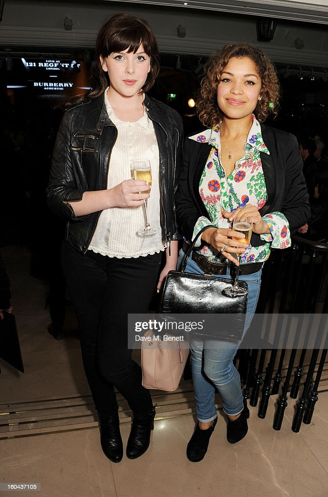 Alexandra Roach (L) and Antonia Thomas attend the Burberry Live at 121 Regent Street event on January 31, 2013 in London, England.