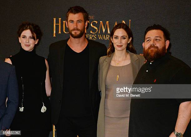 Alexandra Roach Chris Hemsworth Emily Blunt and Nick Frost pose at a photocall for 'The Huntsman Winter's War' at Claridges Hotel on March 31 2016 in...