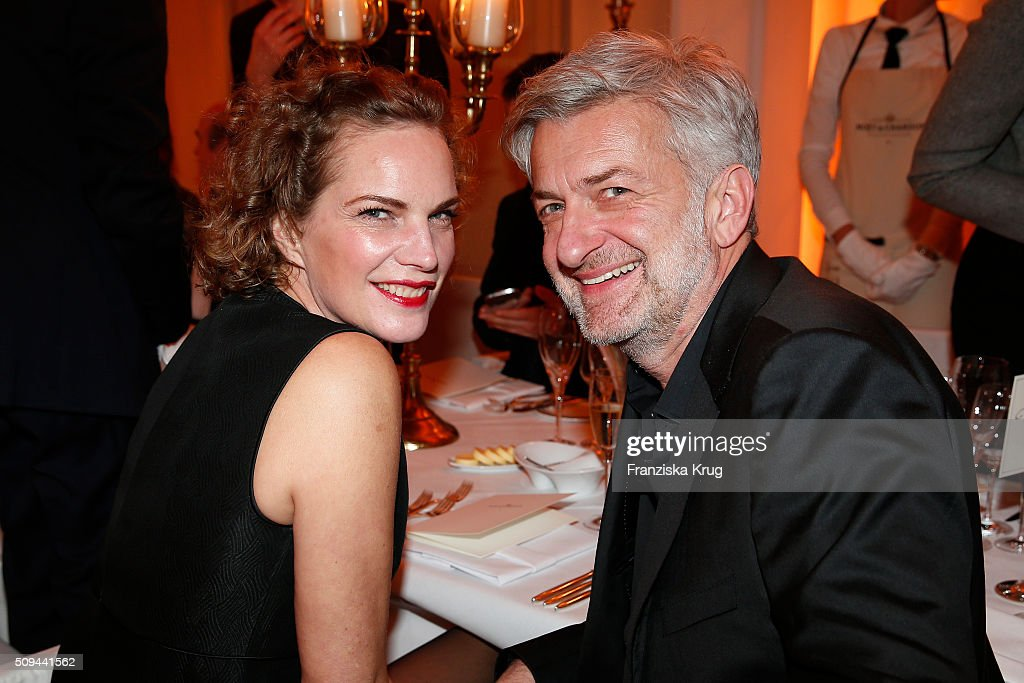 Alexandra Rohleder and Dominic Raacke attend the Moet & Chandon Grand Scores 2016 at Hotel De Rome on February 6, 2016 in Berlin, Germany.