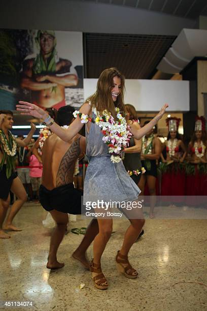 Alexandra Rosenfeld dances during the Tahiti Graffiti Festival on June 23 2014 in Papeete French Polynesia Seven former Miss France have arrived this...