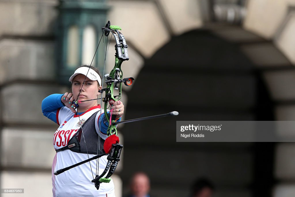 Alexandra Savenkova of Russia shoots during the Womens Compound Gold medal team match at the European Archery Championship on May 28, 2016 in Nottingham, England.
