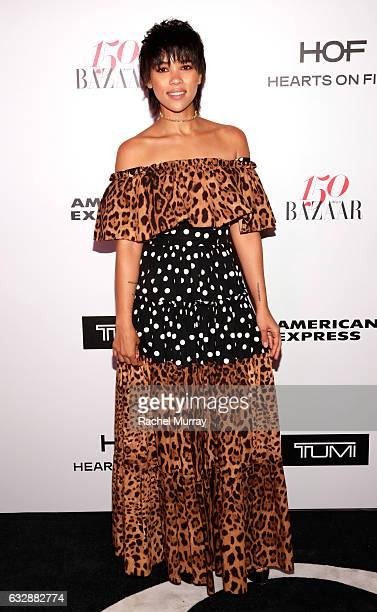 Alexandra Shipp attends Harper's BAZAAR celebration of the 150 Most Fashionable Women presented by TUMI in partnership with American Express La Perla...