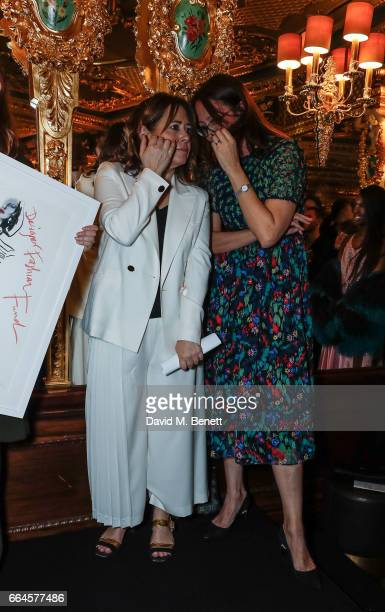 Alexandra Shulman and Caroline Rush attend the BFC/Vogue Designer Fashion Fund winners announcement at Hotel Cafe Royal on April 4 2017 in London...
