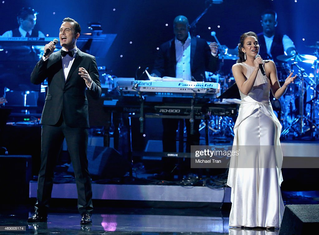 Alexandra Silber and Cheyenne Jackson perform onstage during The 57th Annual GRAMMY Awards premiere ceremony at STAPLES Center on February 8 2015 in...