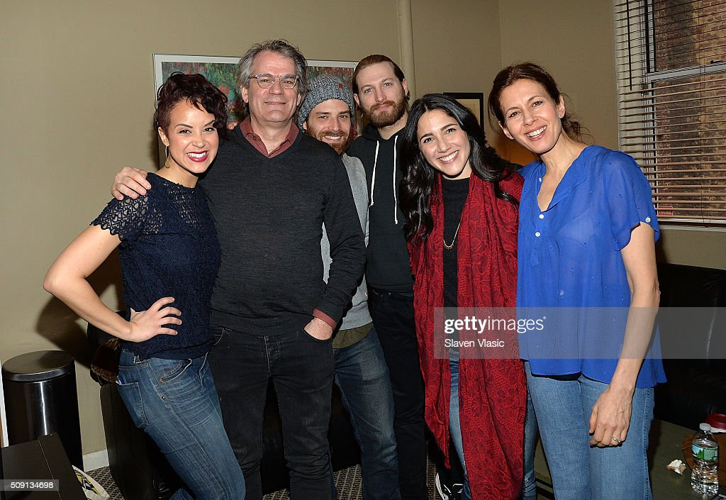 Alexandra Silber, Bartlett Sher, Ben Rappaport, Nick Rehberger, Samantha Massell and Jessica Hecht attend 2016 Broadway Cast Recording of 'Fiddler On The Roof' at MSR Studios in Times Square on February 8, 2016 in New York City.