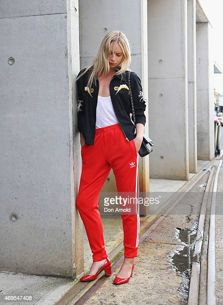 Alexandra Spencer wears an Adidas tracksuit and Chanel handbag at MercedesBenz Fashion Week Australia 2015 at Carriageworks on April 13 2015 in...