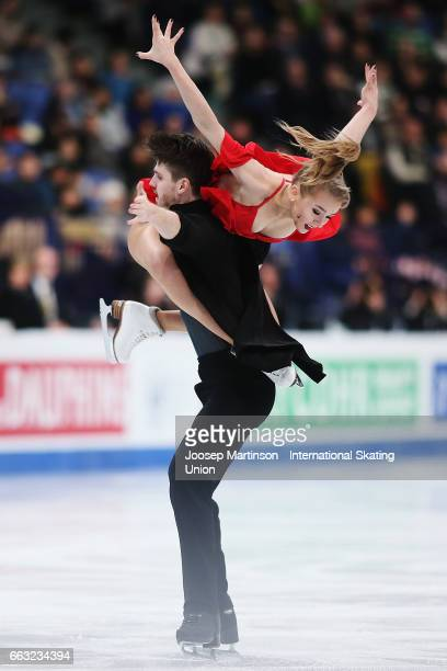 Alexandra Stepanova and Ivan Bukin of Russia compete in the Ice Dance Free Dance during day four of the World Figure Skating Championships at...