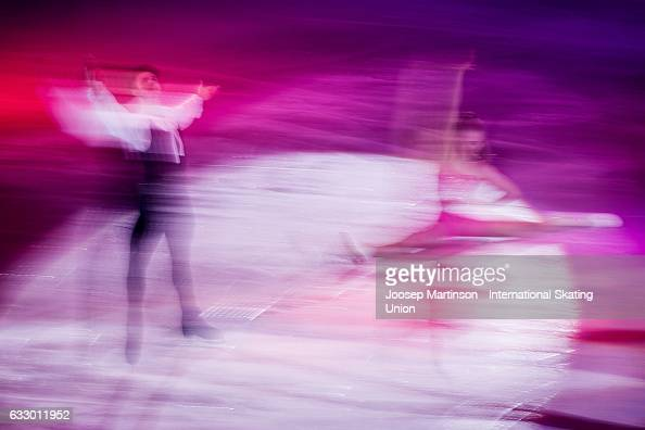 Alexandra Stepanova and Ivan Bukin of Russia perform in the gala exhibition during day 5 of the European Figure Skating Championships at Ostravar...