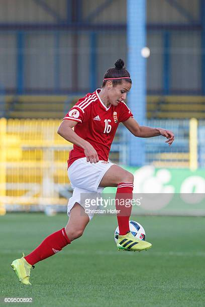 Alexandra Szarvas of Hungary controls the ball during the UEFA Women's Euro 2017 Qualifier between Hungary and Germany at Gyirmot Stadium on...
