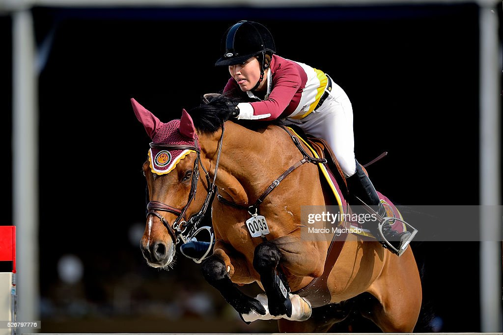 Alexandra Thornton of United Kingdom hiding Caballero 84 during the Global Champions League Team Competition, second round on May 1, 2016 in Shanghai, China.