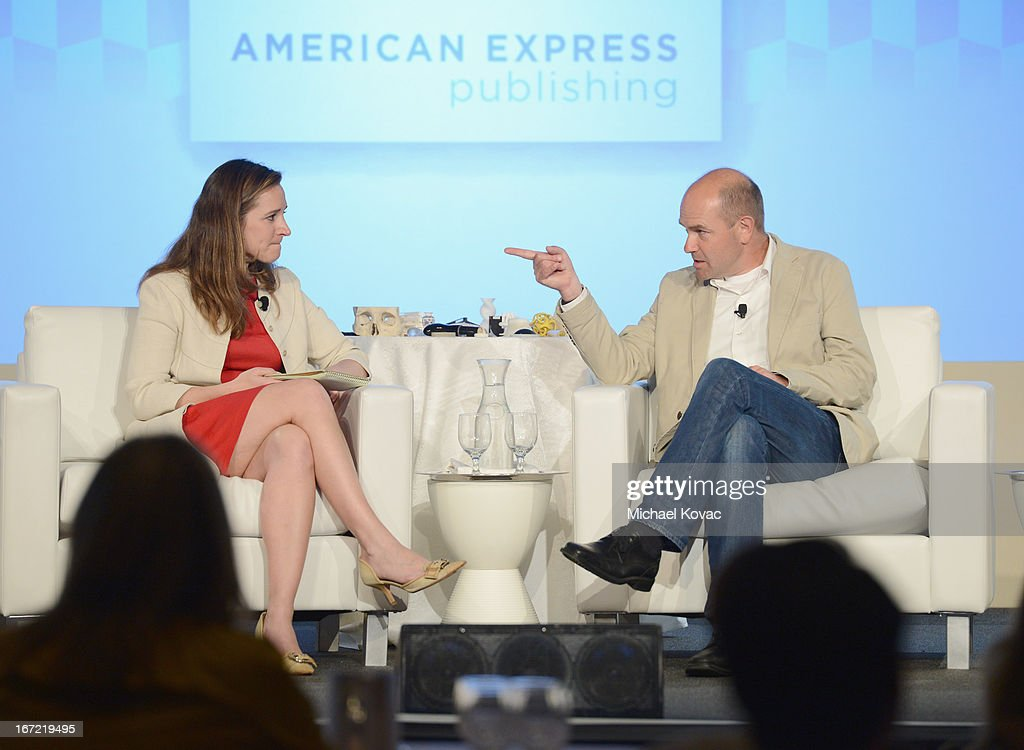 Alexandra Wolfe, Contributing Editor, Departures, and Chris Anderson, Author, CEO, 3DRobotics, speak onstage during The American Express Publishing Luxury Summit 2013 at St. Regis Monarch Beach Resort on April 22, 2013 in Dana Point, California.
