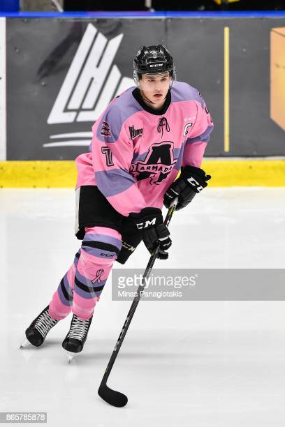 Alexandre Alain of the BlainvilleBoisbriand Armada skates the puck against the Quebec Remparts during the warmup prior to the QMJHL game at Centre...