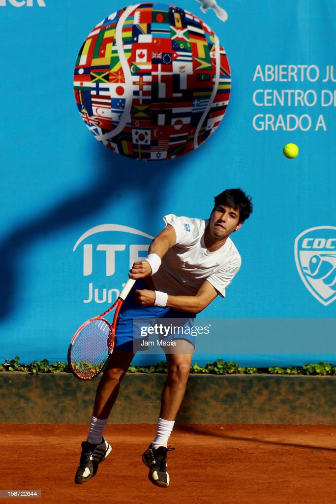 Alexandre Albarici of Brazil serves during the Mexican Youth Tennis Open at Deportivo Chapultepec on December 24, 2012 in Mexico City, Mexico.