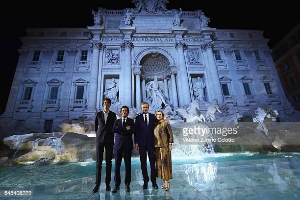 Alexandre Arnault Pietro Beccari Bernard Arnault and Silvia Venturini Fendi attend the Fendi Roma 90 Years Anniversary fashion show at Fontana di...