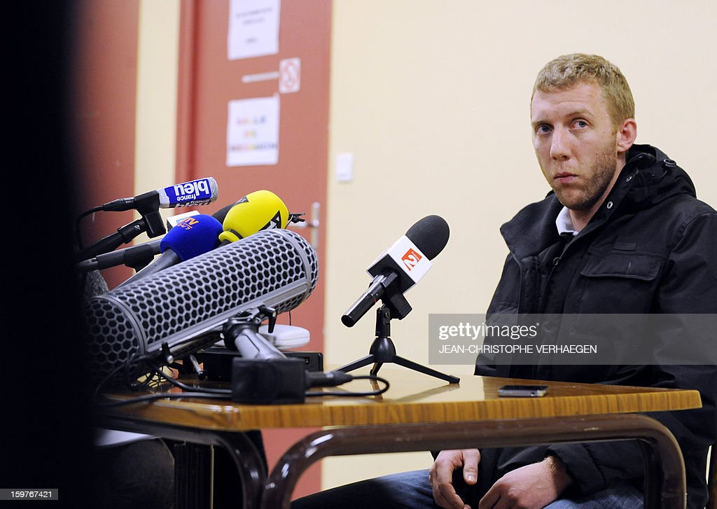 Alexandre Berceaux, a French ex-hostage in Algeria, speaks to journalists on January 20, 2013 in Pagny-sur-Moselle, eastern France. Berceaux succeeded with other Algerian and foreigners to escape on January 17 from the Tiguentourine gas field in southeastern Algeria. The fate of some 30 foreigners hung in the balance today after Al-Qaeda-linked hostage-takers at a remote Algerian gas field demanded a prisoner swap and an end to French military action in Mali.