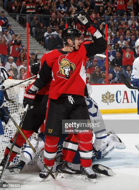 Alexandre Burrows of the Ottawa Senators celebrates a first period goal against the Toronto Maple Leafs at Canadian Tire Centre on October 21 2017 in...