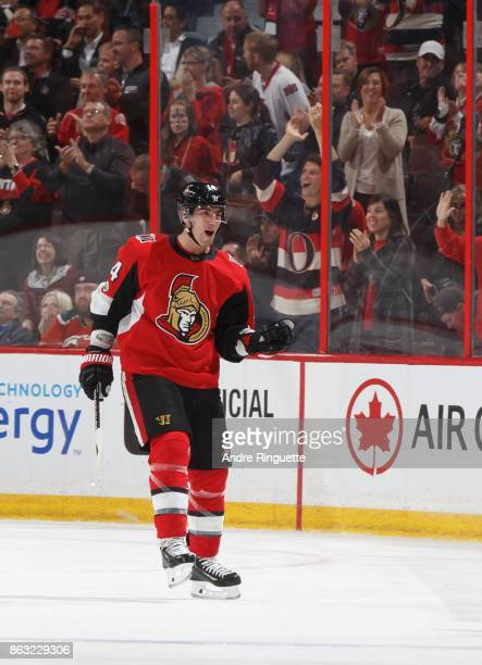 Alexandre Burrows of the Ottawa Senators pumps his fist as he celebrates his second period goal against the New Jersey Devils at Canadian Tire Centre...