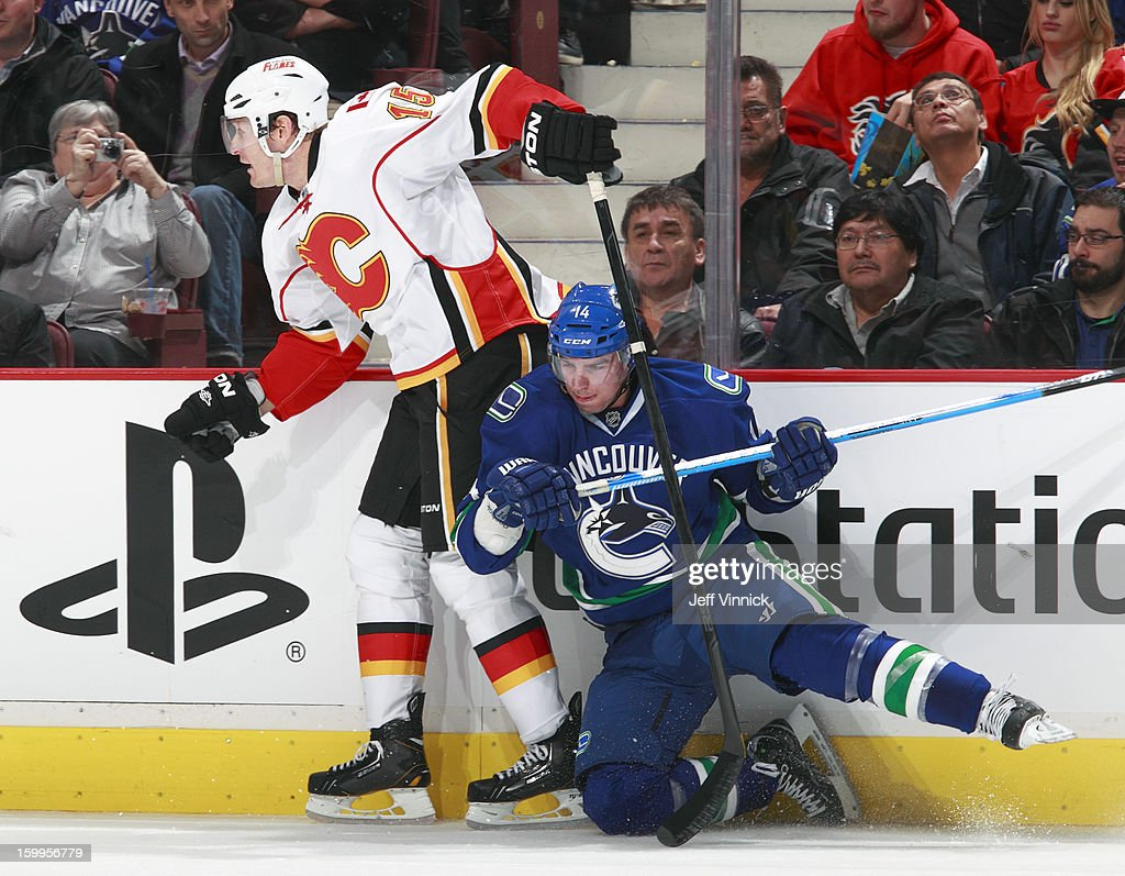 <a gi-track='captionPersonalityLinkClicked' href=/galleries/search?phrase=Alexandre+Burrows&family=editorial&specificpeople=592489 ng-click='$event.stopPropagation()'>Alexandre Burrows</a> #14 of the Vancouver Canucks falls to the ice as he checks <a gi-track='captionPersonalityLinkClicked' href=/galleries/search?phrase=Tim+Jackman&family=editorial&specificpeople=2077074 ng-click='$event.stopPropagation()'>Tim Jackman</a> #15 of the Calgary Flames during their NHL game at Rogers Arena January 23, 2013 in Vancouver, British Columbia, Canada. Vancouver won 3-2 in a shootout.