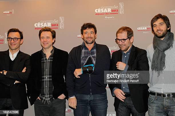 Alexandre de la Patelière Guillaume de Tonquedec Patrick Bruel Mathieu Delaporte and Dimitri Rassam attend the Cesar 2013 nominne lunch at Le...