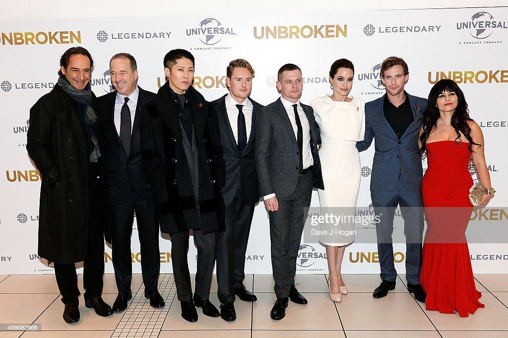 Alexandre Desplat Matthew Baer Miyavi Ross Anderson Jack O'Connell Angelina Jolie Luke Treadaway and Maddalena Ischiale attend the UK Premiere of...