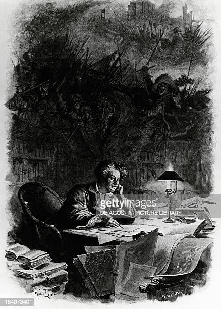 Alexandre Dumas French writer portrait executed of him composing The Three Musketeers Drawing by Maurice Leloir engraving by Huyot 1894 Milan...