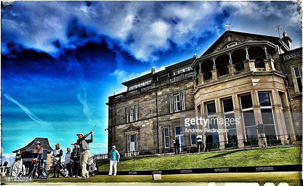 This image was processed using digital filters Alexandre Kaleka of France drives off the 18th tee during the first round of the Alfred Dunhill Links...