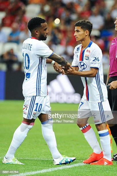 Alexandre LACAZETTE and Houssem AOUAR of Lyon during the Friendly match between Lyon and Benfica at Stade des Lumieres on July 31 2016 in...