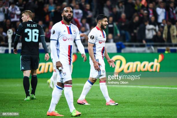 Alexandre Lacazette and Nabil Fekir of Lyon looks dejected during the Uefa Europa League semi final second leg match between Olympique Lyonnais Lyon...