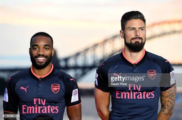 Alexandre Lacazette and Olivier Giroud of Arsenal launch the new Puma Arsenal 3rd kit on Fort Dennison on July 12 2017 in Sydney Australia