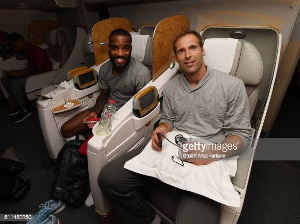 Alexandre Lacazette and Petr Cech on the team flight to Australia for Arsenal's Pre Season tour at Stansted Airport on July 9 2017 in London England