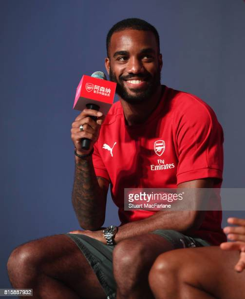 Alexandre Lacazette attends an Arsenal Fan Party at the Manderain Oriental Hotel on July 17 2017 in Shanghai