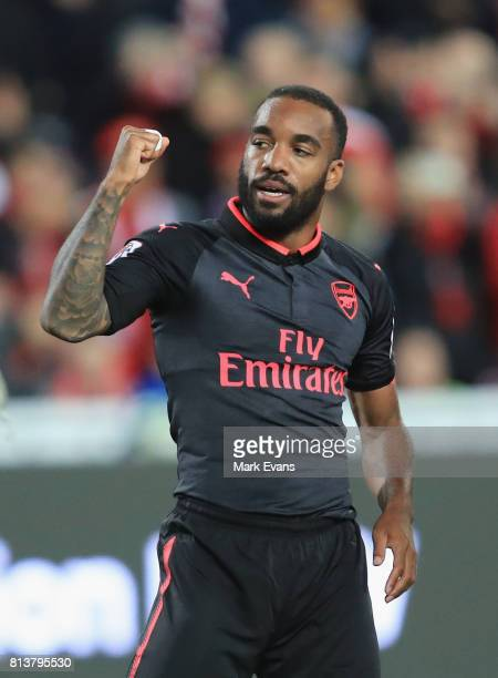 Alexandre Lacazette celebrates a goal in his first game for Arsenal during the match between Sydney FC and Arsenal FC at ANZ Stadium on July 13 2017...