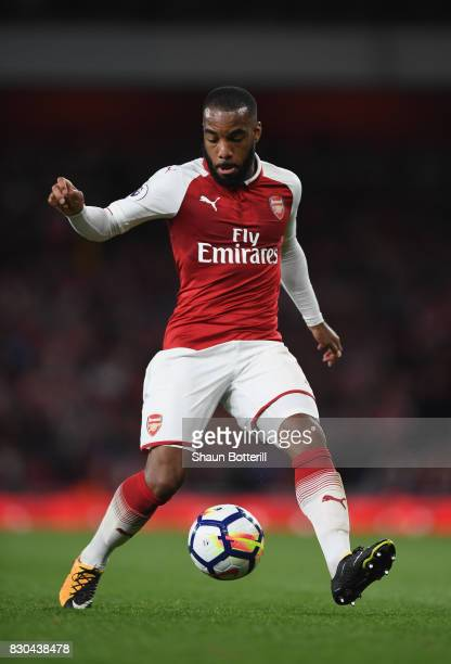 Alexandre Lacazette controlling the ball during the Premier League match between Arsenal and Leicester City at Emirates Stadium on August 11 2017 in...
