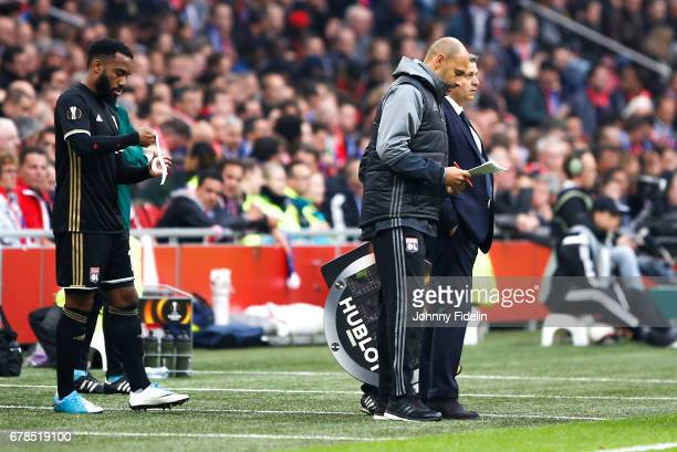 Alexandre Lacazette Gerald Baticle and Bruno Genesio head coach of Lyon during the Uefa Europa League semi final first leg match between Ajax...