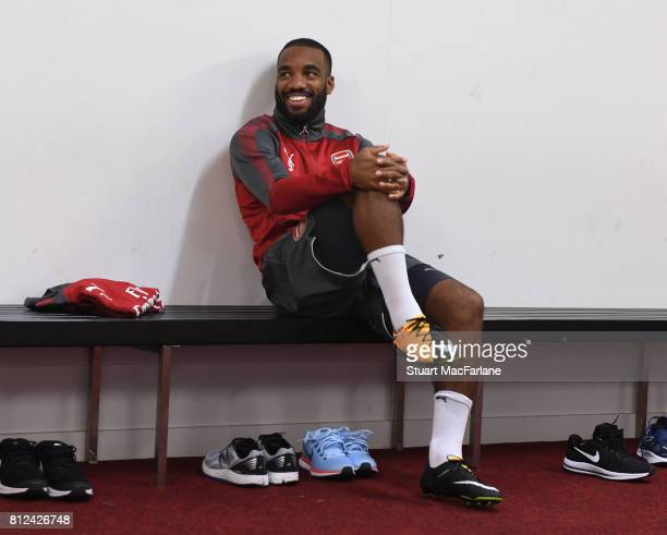 Alexandre Lacazette of Arsenal before a training session at the Korarah Oval on July 11 2017 in Sydney Australia
