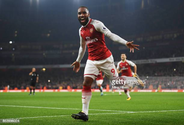 Alexandre Lacazette of Arsenal celebrates after scoring during the Premier League match between Arsenal and West Bromwich Albion at Emirates Stadium...