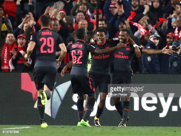 Alexandre Lacazette of Arsenal celebrates after scoring his teams second goal during the match between Sydney FC and Arsenal FC at ANZ Stadium on...