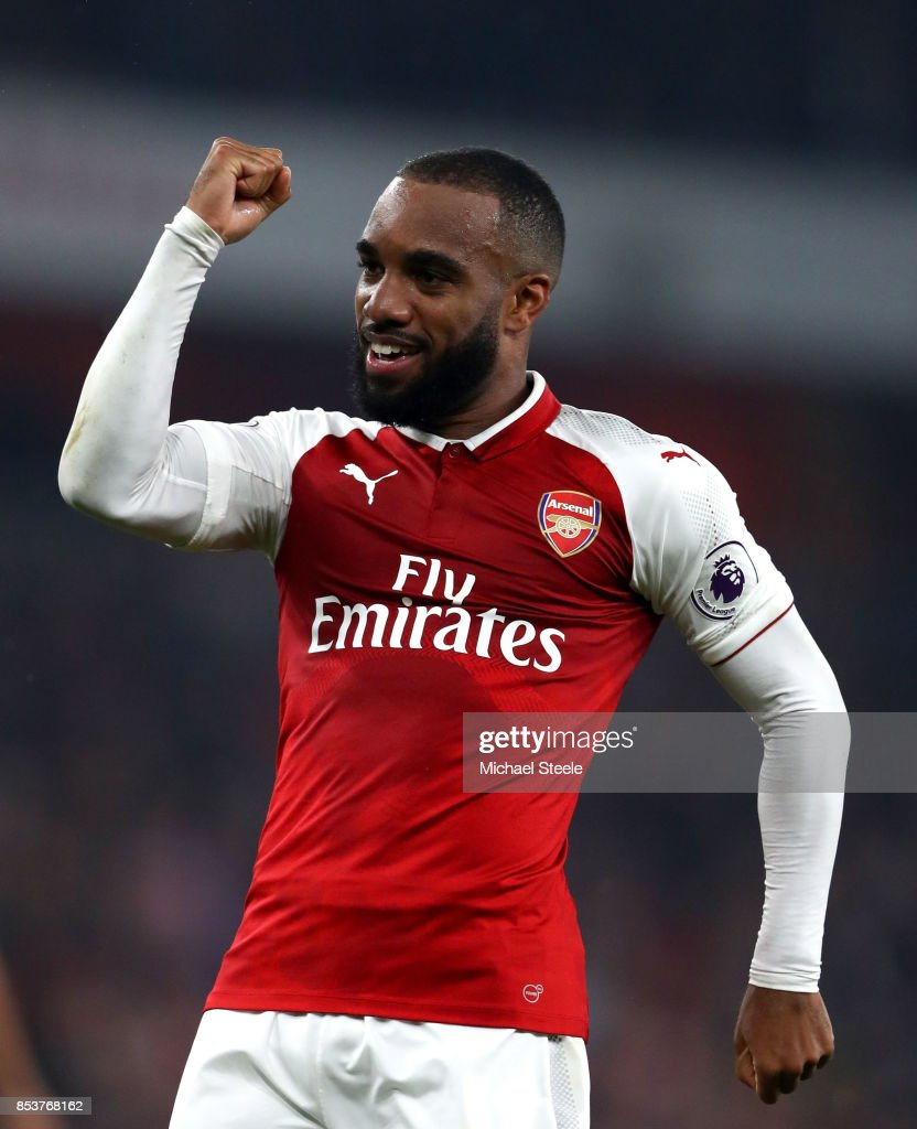 Alexandre Lacazette of Arsenal celebrates as he scores their second goal from a penalty during the Premier League match between Arsenal and West Bromwich Albion at Emirates Stadium on September 25, 2017 in London, England.