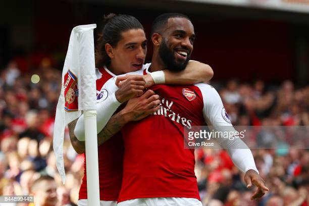 Alexandre Lacazette of Arsenal celebrates scoring his sides second goal with Hector Bellerin of Arsenal during the Premier League match between...