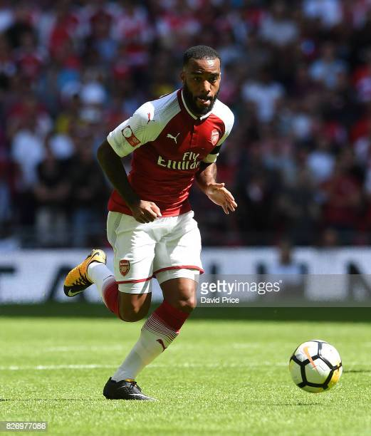 Alexandre Lacazette of Arsenal during the match between Chelsea and Arsenal at Wembley Stadium on August 6 2017 in London England
