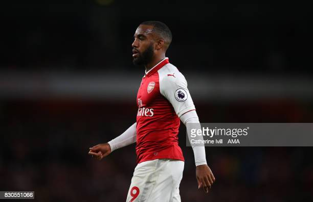 Alexandre Lacazette of Arsenal during the Premier League match between Arsenal and Leicester City at Emirates Stadium on August 11 2017 in London...