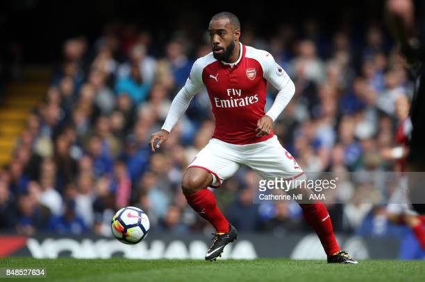 Alexandre Lacazette of Arsenal during the Premier League match between Chelsea and Arsenal at Stamford Bridge on September 17 2017 in London England