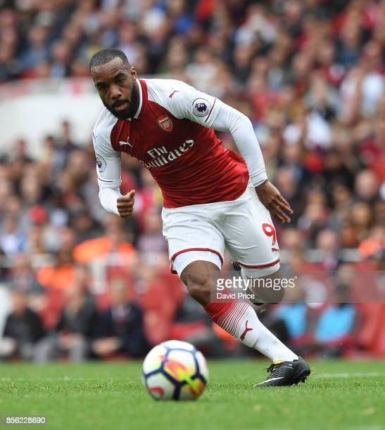 Alexandre Lacazette of Arsenal during the Premier League match between Arsenal and Brighton and Hove Albion at Emirates Stadium on October 1 2017 in...