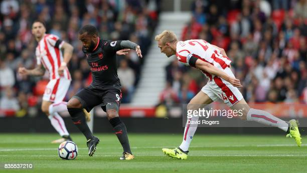 Alexandre Lacazette of Arsenal in action during the Premier League match between Stoke City and Arsenal at Bet365 Stadium on August 19 2017 in Stoke...