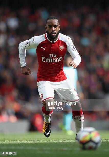Alexandre Lacazette of Arsenal in action during the Premier League match between Arsenal and AFC Bournemouth at Emirates Stadium on September 9 2017...
