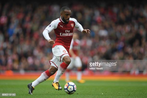 Alexandre Lacazette of Arsenal in action during the Premier League match between Arsenal and Brighton and Hove Albion at Emirates Stadium on October...
