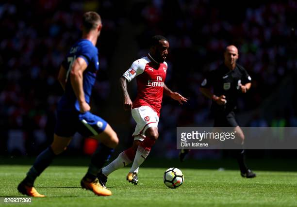 Alexandre Lacazette of Arsenal in action during the The FA Community Shield final between Chelsea and Arsenal at Wembley Stadium on August 6 2017 in...