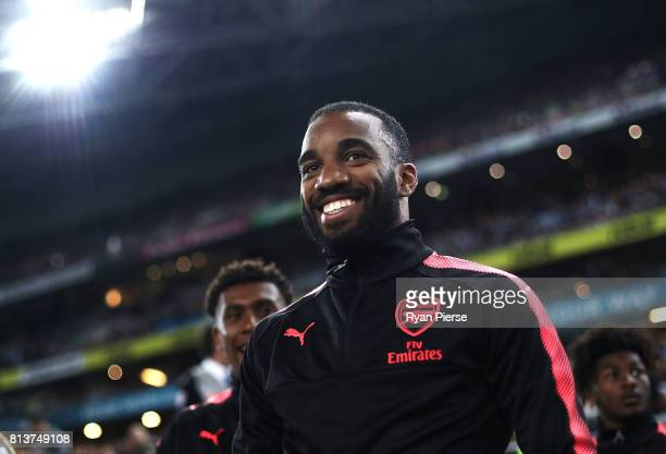 Alexandre Lacazette of Arsenal looks on during the match between Sydney FC and Arsenal FC at ANZ Stadium on July 13 2017 in Sydney Australia